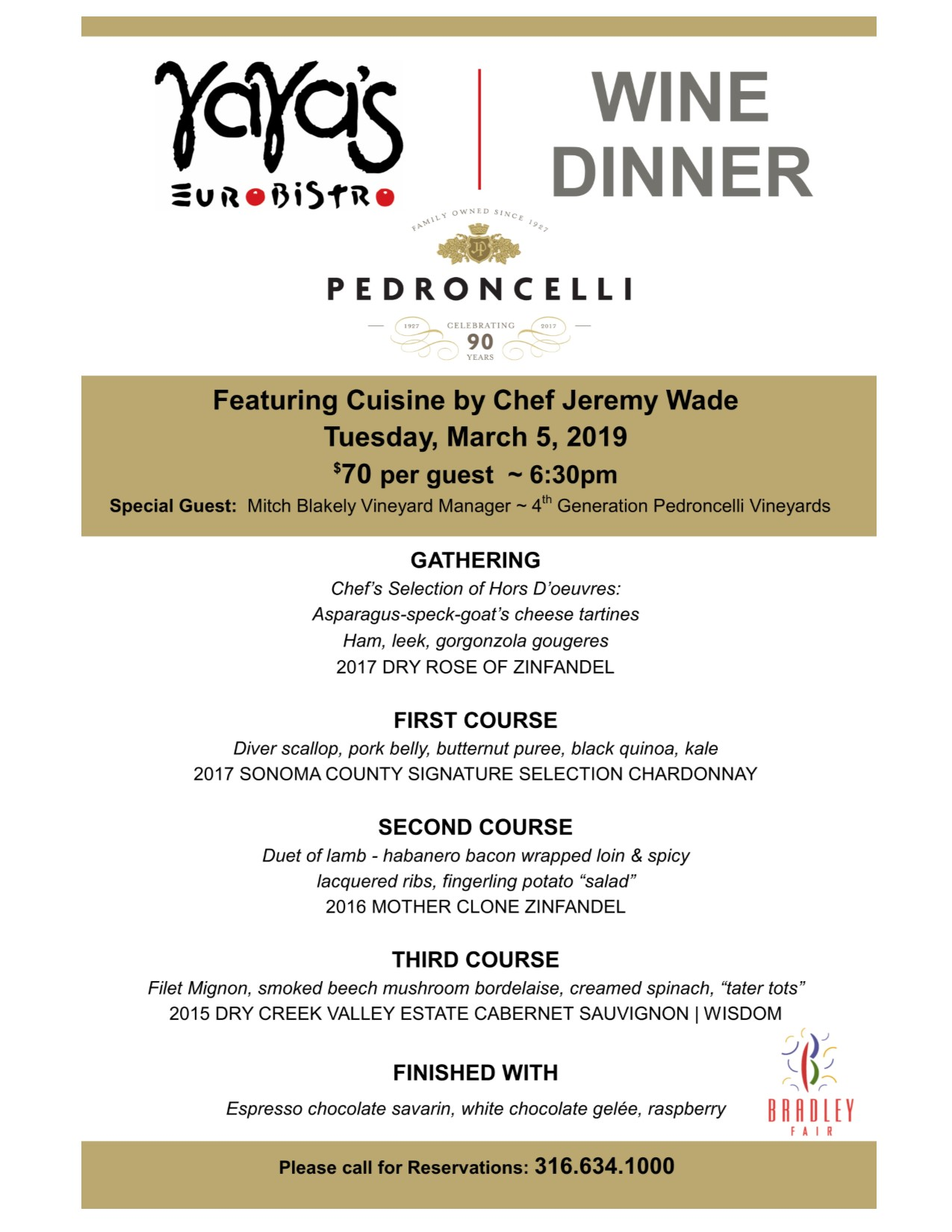 Pedroncelli Wine Dinner Poster Sized