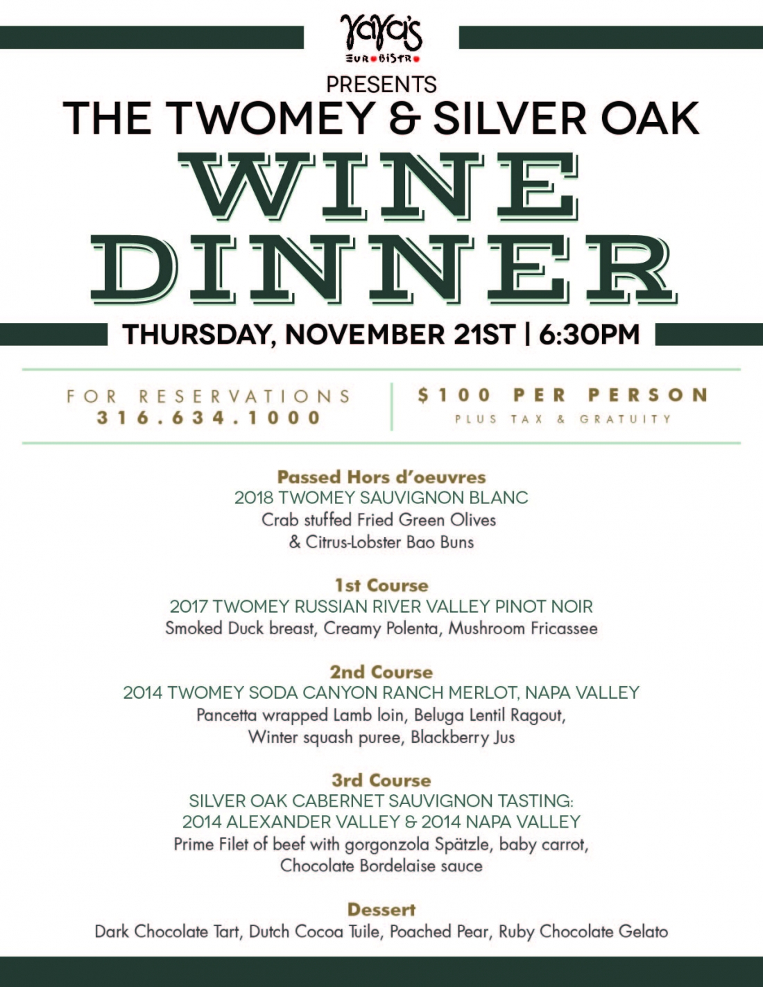 Twomey & Silver Oak Wine Dinner