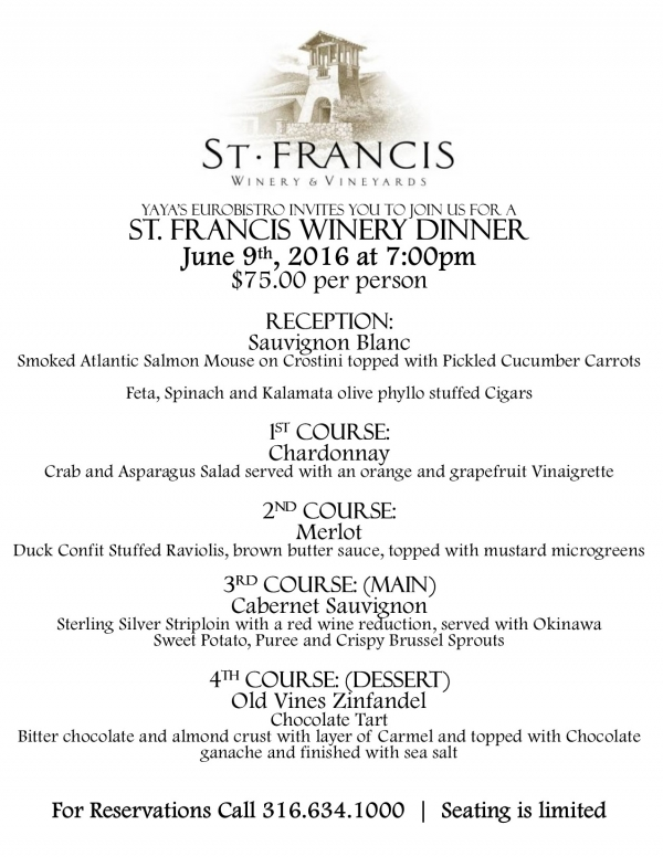 St. Francis Winery Dinner is June 9th!