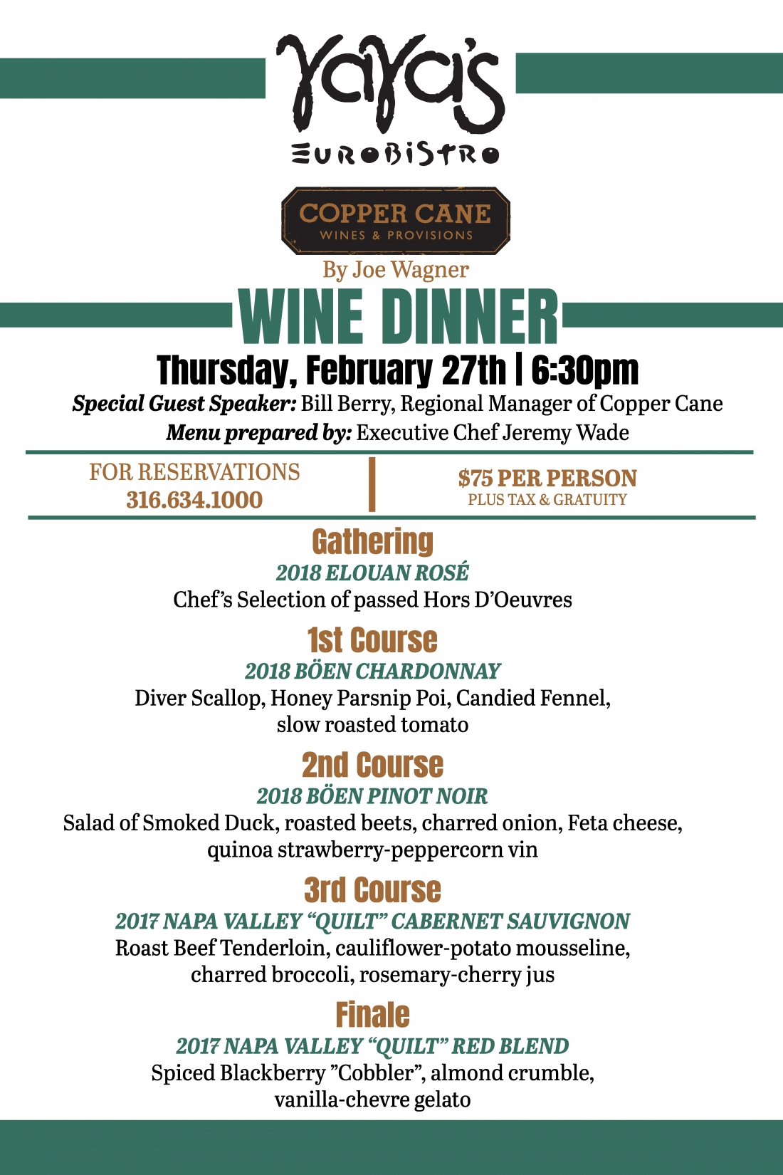 Copper Cane Wine Dinner